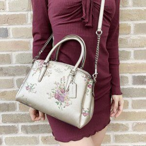 NWOT COACH PLATINUM FLORAL ROSE MINI SAGE SATCHEL